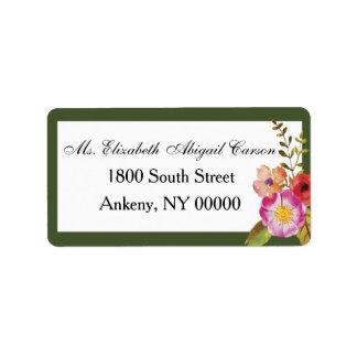 Vino y flores que casan la etiqueta de dirección