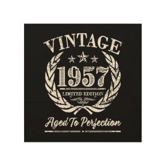 Vintage 1957 - 60.o arte de madera del cumpleaños