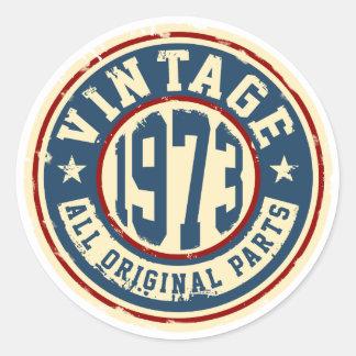 Vintage 1973 todas las piezas de la original pegatina redonda