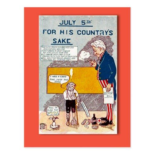 Vintage 4to de la reproducción de la postal de jul