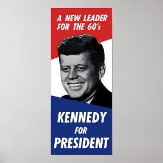 Vintage 60s Kennedy para el presidente - nuevo Póster