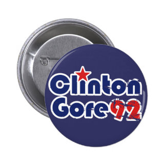 Vintage 90s Clinton Gore 1992 Chapa Redonda De 5 Cm