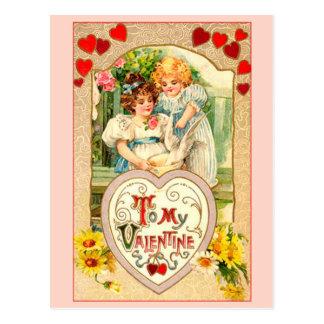 Vintage a mi tarjeta del día de San Valentín Postal