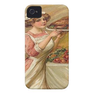 Vintage, acción de gracias Turquía de la porción d iPhone 4 Case-Mate Funda