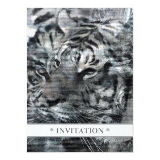 Vintage acodado blanco y negro de los tigres invitación 13,9 x 19,0 cm