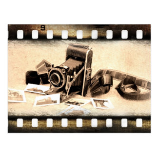 Vintage, acordeón-estilo, cámara de plegamiento postal