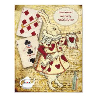 Vintage Alicia en ducha nupcial del conejo del Invitación 10,8 X 13,9 Cm