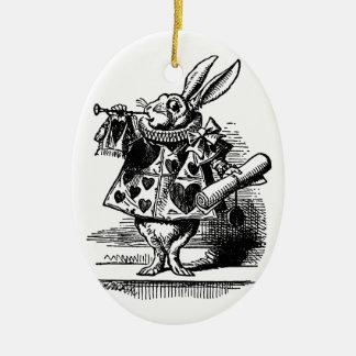 Vintage Alicia en el conejo blanco del país de las Adorno Ovalado De Cerámica
