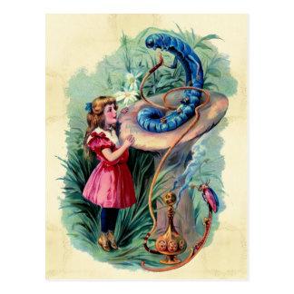 Vintage Alicia en postal del país de las