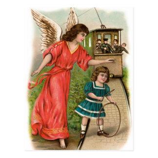 Vintage ángeles gel de protección tranvía chica y postal