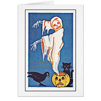 Vintage asustadizo Halloween del fantasma Tarjeta De Felicitación