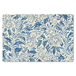 Vintage azul de la antigüedad del estampado de papel de seda