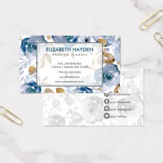 Vintage azul floral tarjeta de visita