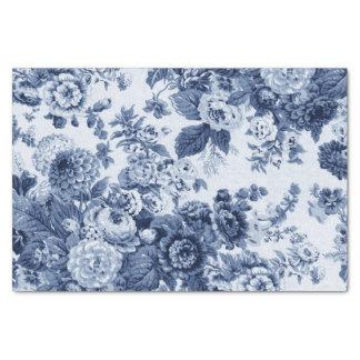 Vintage azul Toile floral No.3 del bígaro Papel De Seda
