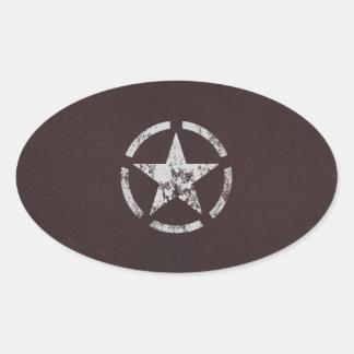 Vintage blanco aliado de la estrella de los calcomania de oval personalizadas