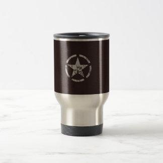 Vintage blanco aliado de la estrella de los taza de viaje