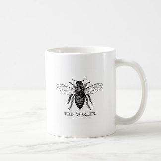Vintage blanco y negro de la abeja de trabajador taza de café
