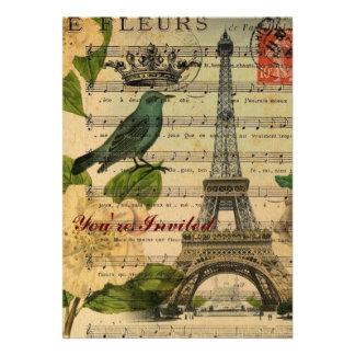 Vintage botánico París del arte de los pájaros del