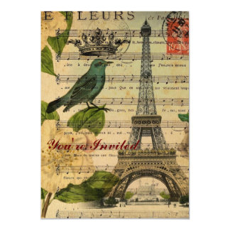 Vintage botánico París del arte de los pájaros del Invitación 12,7 X 17,8 Cm