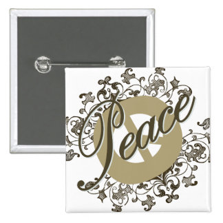 Vintage Brown del signo de la paz Chapa Cuadrada 5 Cm
