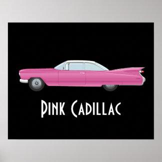 Vintage Cadillac rosado con el fondo negro Póster