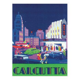 Vintage Calcutta Kolkata la India Tarjeta Postal
