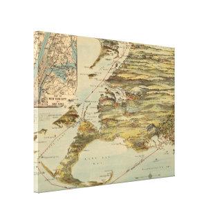 Vintage Cape Cod y mapa de ruta del barco de vapor Impresión En Lienzo