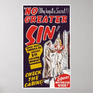 """Vintage cartel de película de """"ningún mayor pecado posters"""