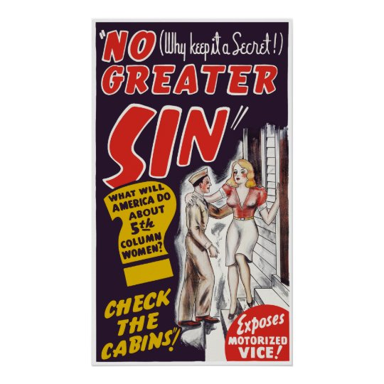 """Vintage cartel de película de """"ningún mayor pecado póster"""