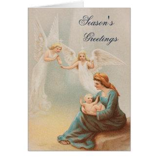 Vintage colorido Maria con la tarjeta de Jesús del