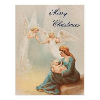 Vintage colorido Maria con la tarjeta de Jesús del Postal