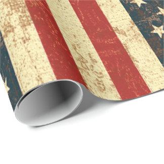 Vintage de la bandera americana apenado papel de regalo