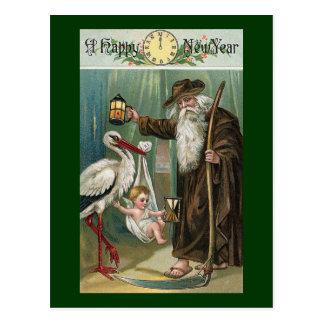 Vintage de la Feliz Año Nuevo Postal