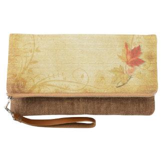 Vintage de la hoja de arce del otoño de la caída clutch
