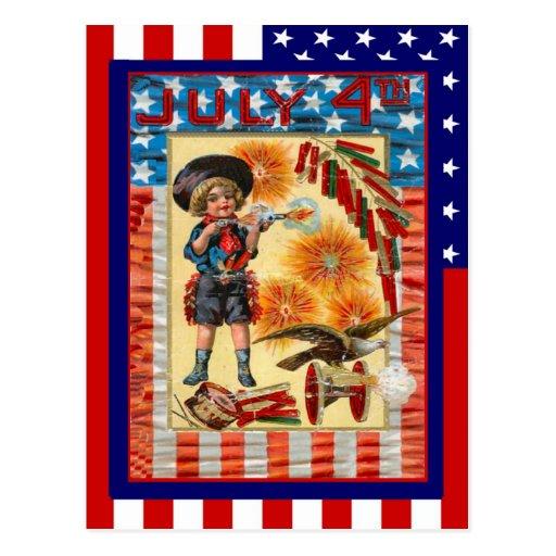 Vintage de la reproducción del 4 cañón de julio, d tarjetas postales