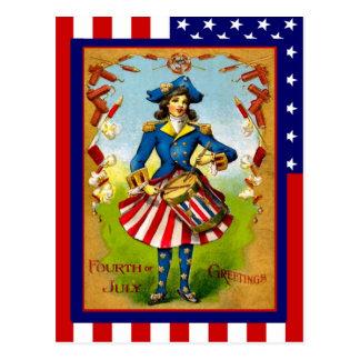 Vintage de la reproducción el 4 de julio, chica de tarjetas postales