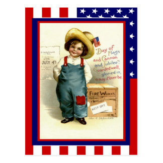 Vintage de la reproducción el 4 de julio, muchacho postal