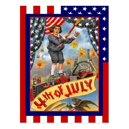 Vintage de la reproducción el 4 de julio, muchacho postales