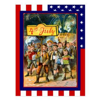 Vintage de la reproducción el 4 de julio, niños co postal