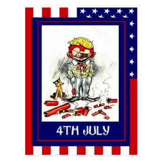 Vintage de la reproducción el 4 de julio, peligros tarjeta postal