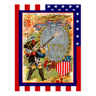 Vintage de la reproducción el 4 de julio, uniforme tarjetas postales