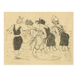 Vintage de la reproducción, fiesta de la playa postal