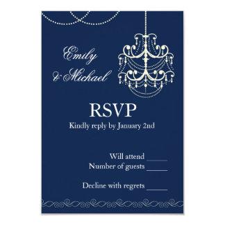 Vintage de la tarjeta de RSVP de los azules Invitación 8,9 X 12,7 Cm