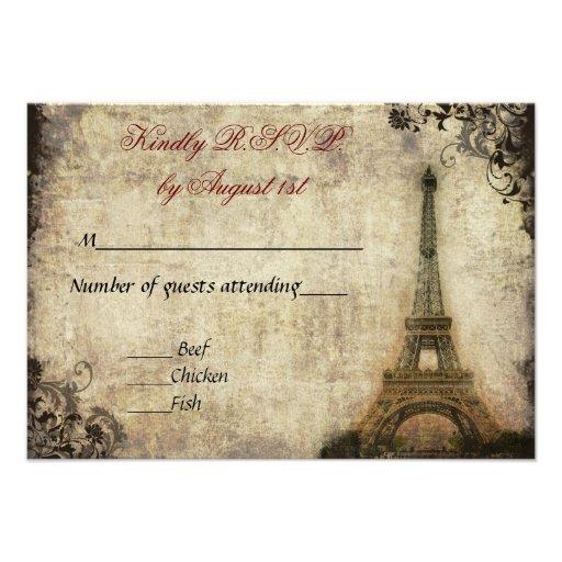 Vintage de la torre Eiffel que casa R.S.V.P. Invitaciones Personalizada