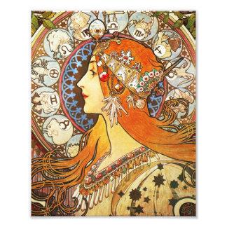 Vintage de Nouveau del arte del zodiaco del penach Fotografías