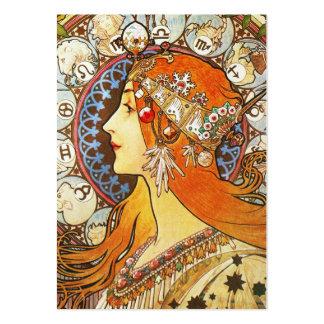 Vintage de Nouveau del arte del zodiaco del Tarjetas De Visita Grandes