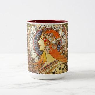 Vintage de Nouveau del arte del zodiaco del Taza De Dos Tonos