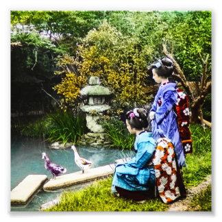 Vintage de observación Japón viejo de dos patos Impresiones Fotográficas
