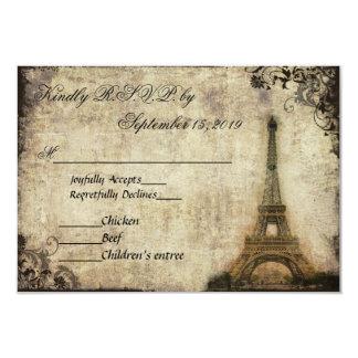 Vintage de París de la torre Eiffel que casa RSVP Invitación 8,9 X 12,7 Cm