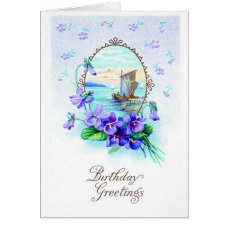 Vintage de saludo 1912 del cumpleaños de la mujer tarjeta de felicitación